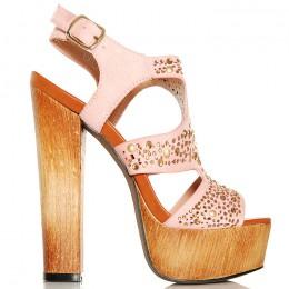 Sandały Różowe Sexy Drewniaki - Złote Cyrkonie