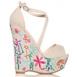 Sandały Beżowe Zamszowe Na Kolorowej Koturnie 6328