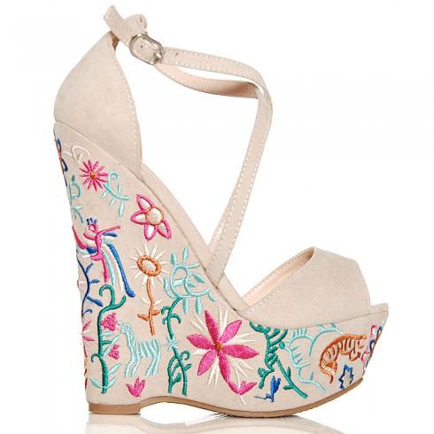 Sandały Beżowe Zamszowe Na Kolorowej Koturnie