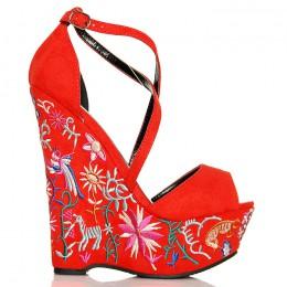 Sandały Czerwone Zamszowe Na Kolorowej Koturnie