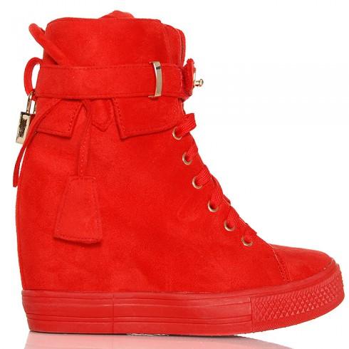 nie - Sneakersy Czerwone Zamszowe Na Koturnie - Kłódka
