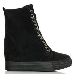 Sneakersy Czarne Zamszowe - Unikatowe Wiązanie