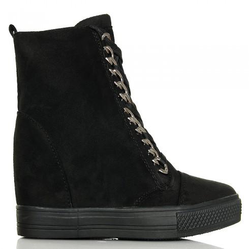 nie - Sneakersy Czarne Zamszowe - Unikatowe Wiązanie
