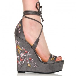 Sandały Szare Zamszowe Wyszywana Koturna Kwiatki 6350