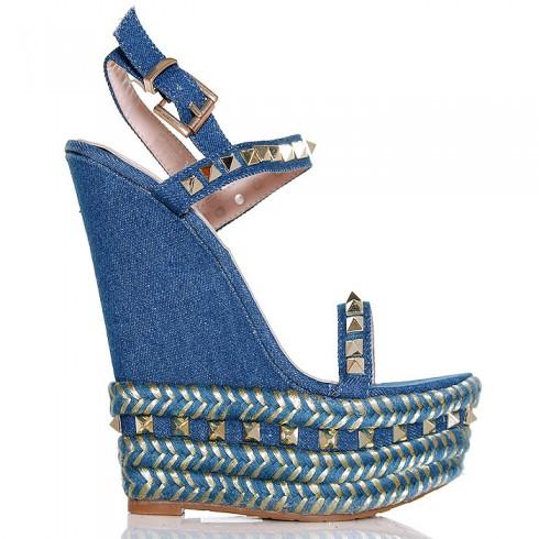 Sandały Niebieskie Jeansowe Na Sznurkowej Koturnie