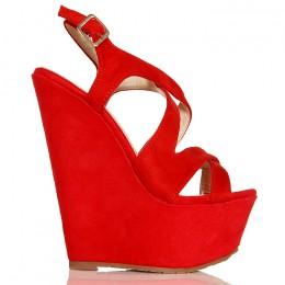 Sandały Czerwone Cudo Na Koturnie Przeplatane Paski