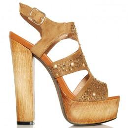 Sandały Camelowe Sexy Drewniaki - Złote Cyrkonie