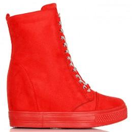 Sneakersy Czerwone Zamszowe - Unikatowe Wiązanie