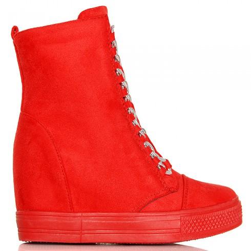 Sneakersy Czerwone Zamszowe - Koturna 6358