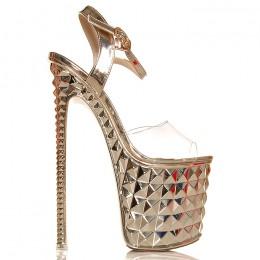 Sandały Wysokie Złote Silikonowe Pasek 6362