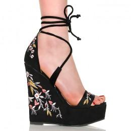 Sandały Czarny Zamsz Wiązane - Kwiatki 6365