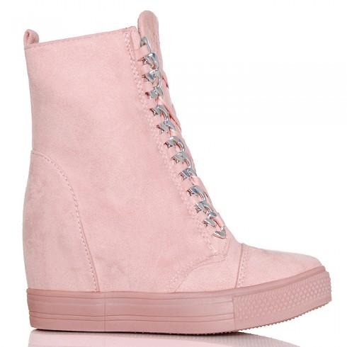 nie - Sneakersy Różowe Zamszowe Koturna 6368