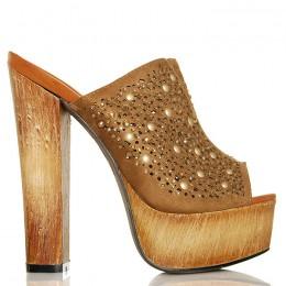 Klapki Brązowe Kobiece Sexy Drewniaki 6363
