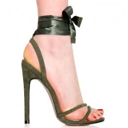 Sandały Oliwka Zamsz Wiązana Tasiemka 6372