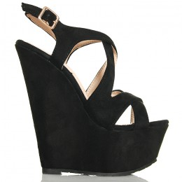 Sandały Czarne Na Koturnie 6374