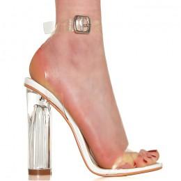Sandały Bezbarwne Białe Szklany Słupek 6378