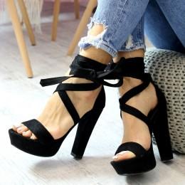 Sandały Zamszowe Czarne Paski 6392