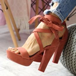 Sandały Zamszowe Różowe Paski 6406