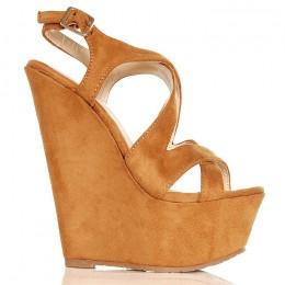 Sandały Camelowe Na Koturnie 6412