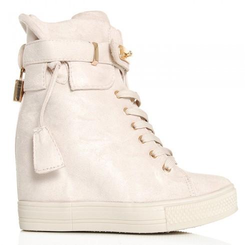Sneakersy Beżowe Zamszowe - Kłódka 6414