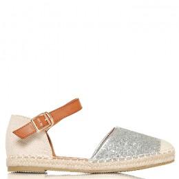 Sandały Modne Espadryle Srebrny Brokat 6421