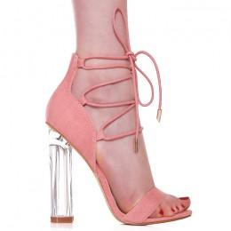 Sandały Różowe Jeansowe Szklany Obcas 6435