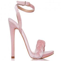Sandały Różowy Welurowy Warkocz 6436