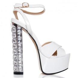 Sandały Białe Futurystyczny Obcas 6438
