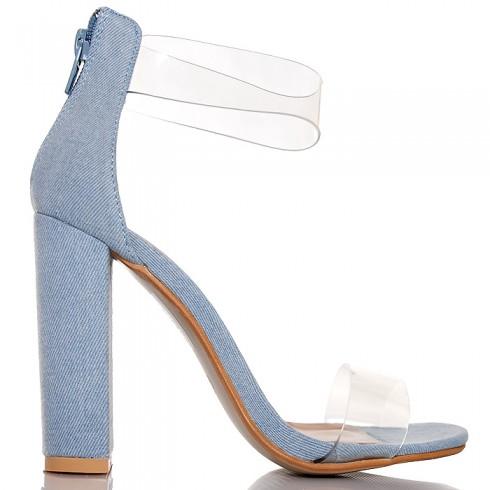 nie- Sandały Jasny Jeans Silikonowe Paski 6451