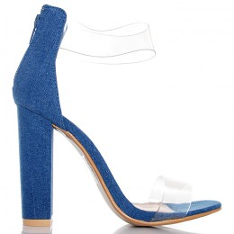 Sandały Ciemny Jeans Silikonowe Paski 6454