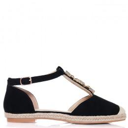 Sandały Zamszowe Czarne - Kamienie 6466