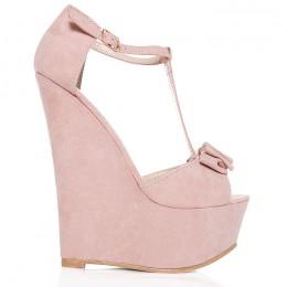 Sandały Różowa Koturna - Kokardka 6467