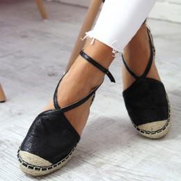 Sandały Czarne Błyszczące Espadryle Paski 6442