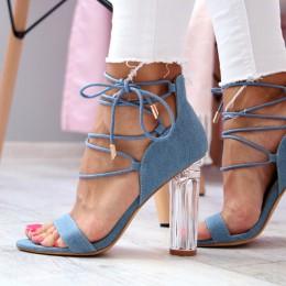 Sandały Blue Jeansowe Szklany Obcas 6447