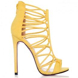Sandały Żółte Zamszowe Sexy Paseczki 6480