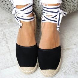 Sandały Czarne Wiązane  Espadryle 6491