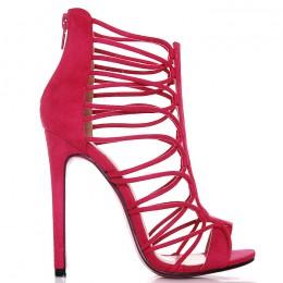 Sandały Różowe Zamszowe Sexy Paseczki 6488
