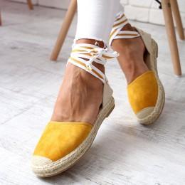 Sandały Miodowe Wiązane  Espadryle 6503