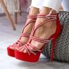 Sandały Czerwone Paseczki Srebrne Cyrkonie 6460