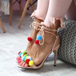 Sandały Beżowa Zgrabna Szpilka Kolorowe Pompony 6505