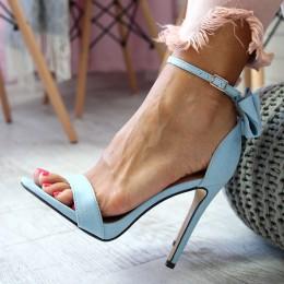 Sandały Niebieskie Klasyczne Delikatna Kokardka 6506