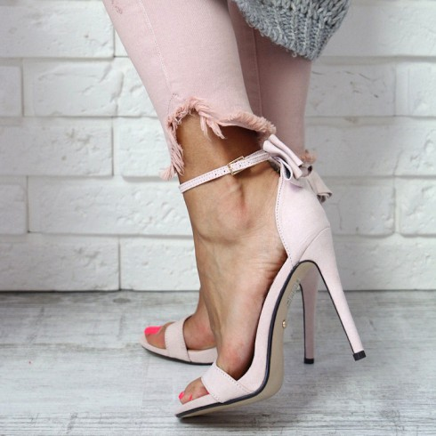 Sandały Różowe Klasyczne Delikatna Kokardka 6510