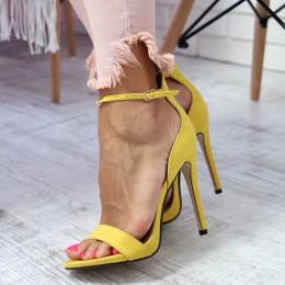 Sandały Żółte Zamszowe Klasyczne Na Szpilce 6513