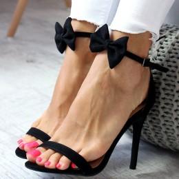 Sandały Czarne Uszka Black Kokarda 6519