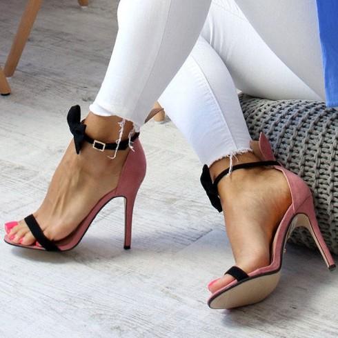 nie - Sandały Różowe Uszka Czarna Kokarda 6522
