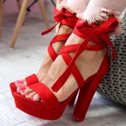 Sandały Czerwone Skrzyżowane Paski 6524