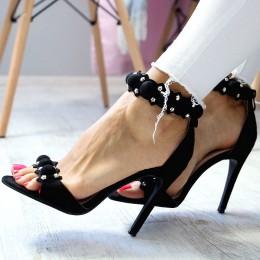Sandały Czarne Fantazyjne Zdobienie 6527