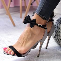 Sandały Szare Uszka Czarna Kokarda 6523
