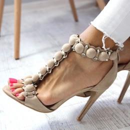 Sandały Beżowe - Wystrzalowe Zdobienie 6528