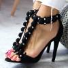 Sandały Czarne - Wystrzalowe Zdobienie 6530